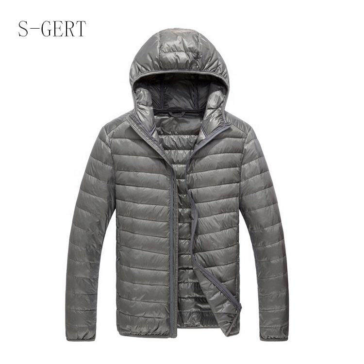 Marque Qualité Solide Coupe Slim Sweat À Capuche Ultra-Léger En Plein Air Homme Veste Compressible Manteau