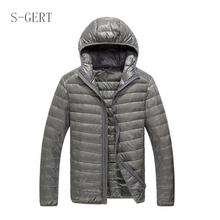 Brand Quality Solid Slim Fit Hoodie Ultralight Outdoor Man Packable Jacket Down Coat