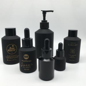 Cosmetic packaging slant shoulder matte black skin care set glass bottle cosmetic products with black dropper and jar with lid