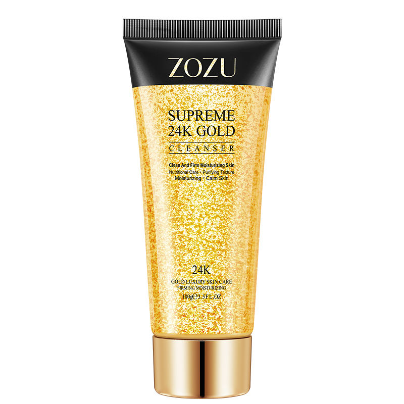 private label ZOZU pore cleansing face wash moisturizing 24k gold facial cleanser