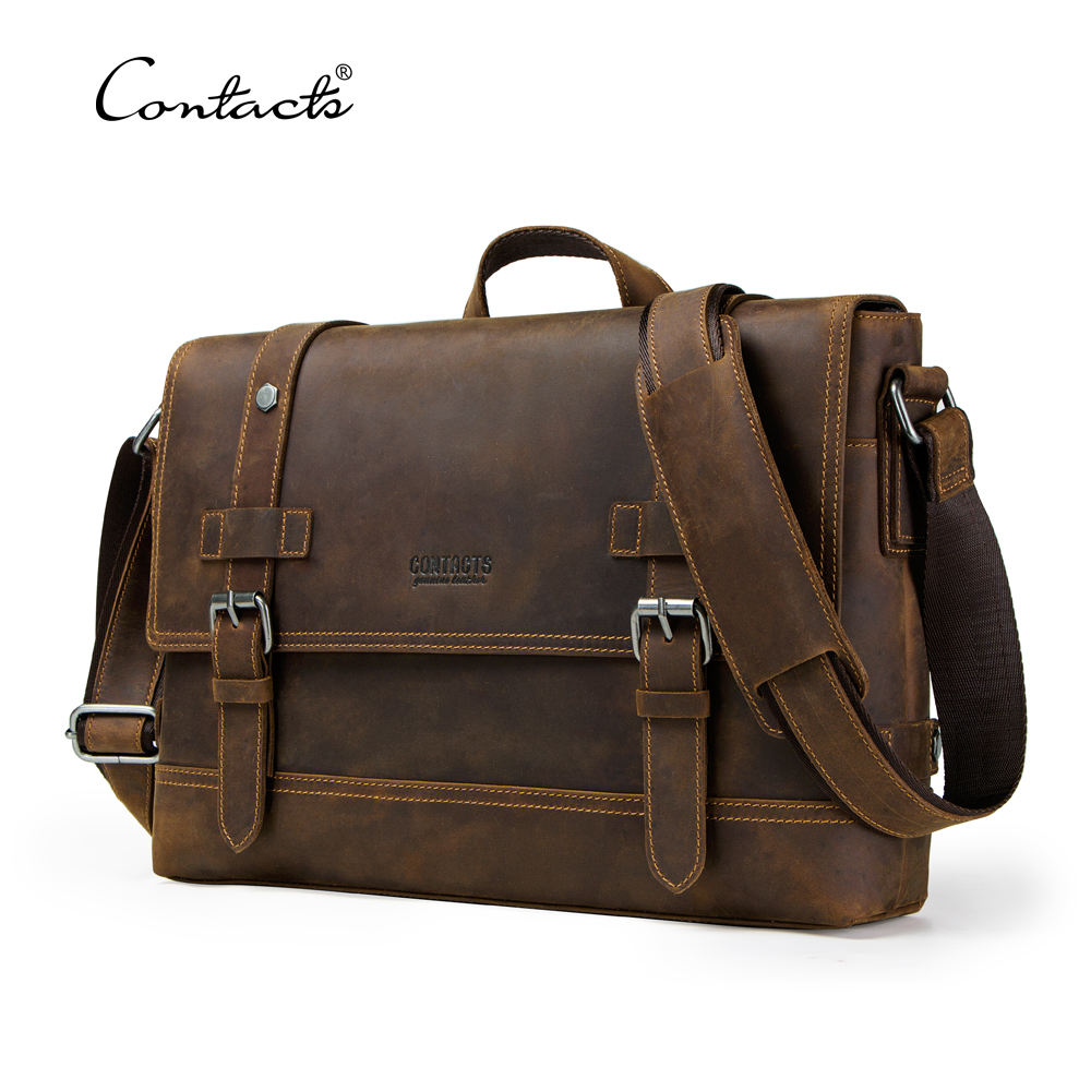 contact's dropship wholesale vintage crazy horse leather men satchel genuine leather soft bag briefcase for 12 inches laptop