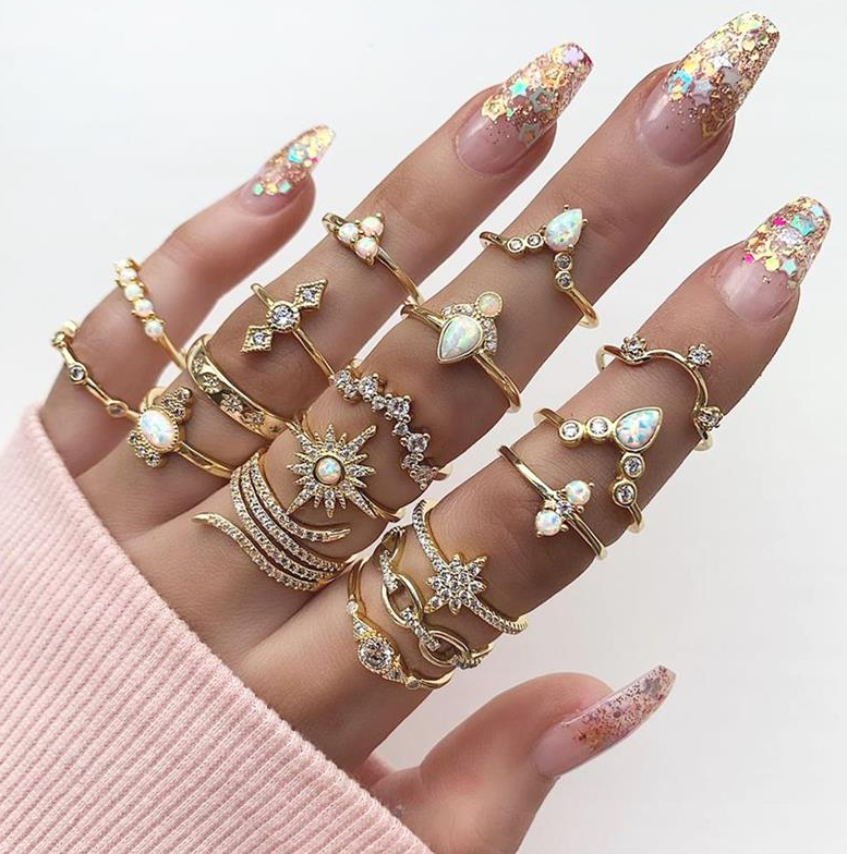 Boho Vintage Gold Star Knuckle Rings For Women BOHO Crystal Star Crescent Geometric Female Finger Rings Set Jewelry 2020