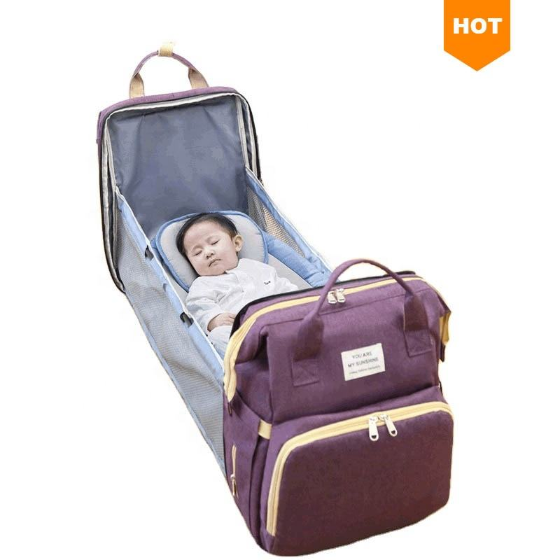 Wholesale Portable Waterproof Mummy Back Pack Large Capacity Mom Backpack Foldable Baby Bed Diaper Bag