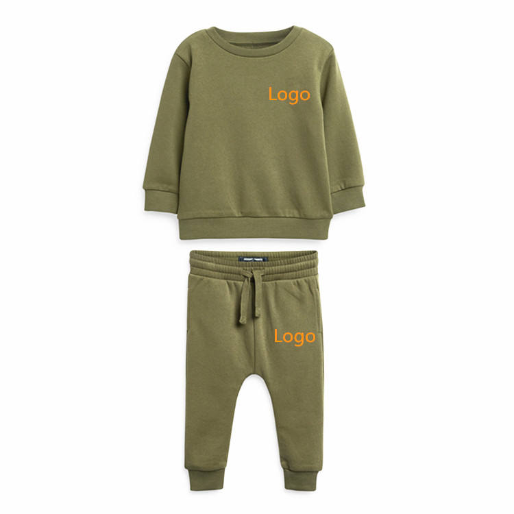 High quality kids plain tracksuit baby boy clothes sets 2pcs cotton outfits suit