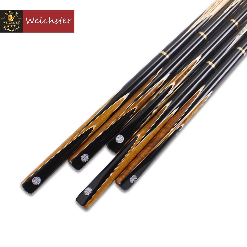 Weichster 3/4 Jointed Handcraft Snooker Cue Stick Ebony Burl Wood Cue Butt