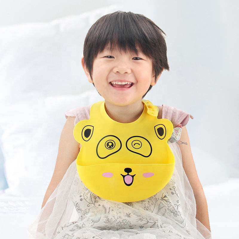 Upgraded Factory Waterproof Soft Silicone Baby Bib Silicone Bib Baby Babero with Anti-Spill Catcher