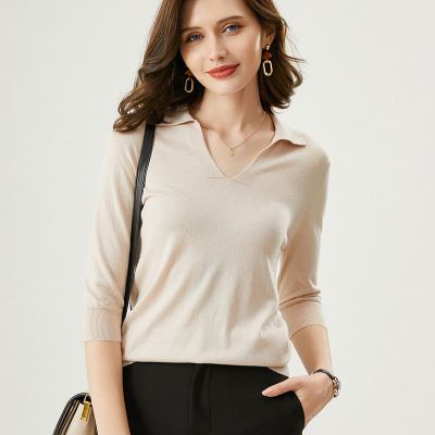 2020 Spring Summer New Lady Cashmere Silk Polo Top