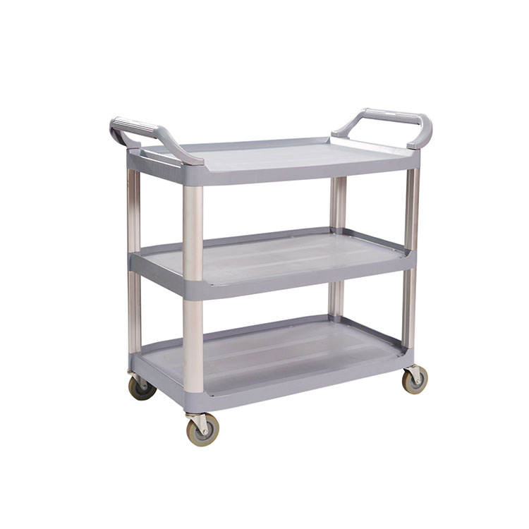 3 Shelf Plastic Food Transport Service Cart Plastic Utility Cart