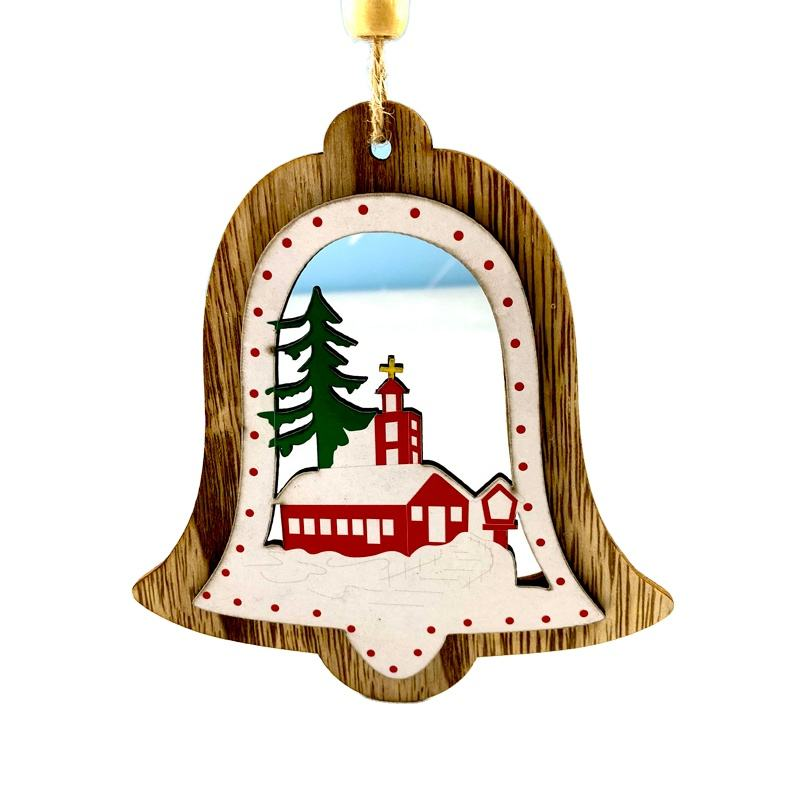 wood centerpiece Christmas bells Xmas tree hanging decorations
