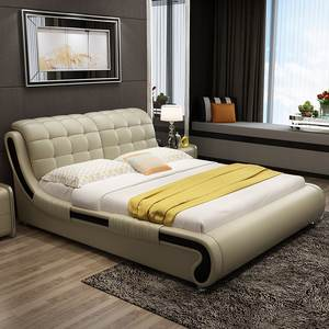 King size bed with PU leather modern style double soft leather bed .3m with multifunctional storage