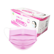 Medical Supply 3 PLY Disposable Earloop face mask disposable surgical mask in pink color