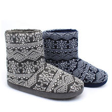 2020 New fashion design cheap shoes knitted slipper men home sheepskin winter boots