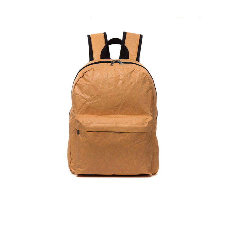 Custom recycled Leisure Style travel Washable Kraft Paper backpack school bag