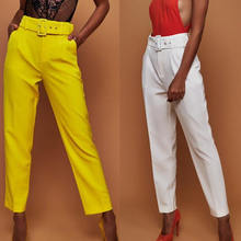 High Waist Belted Straight Leg Slacks For Ladies Women Trousers