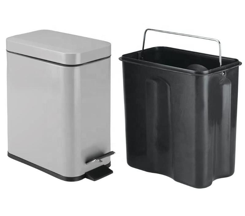 6L Grey color Foot Pedal Bin and Waste bin for Bathroom Rattan Dustbin