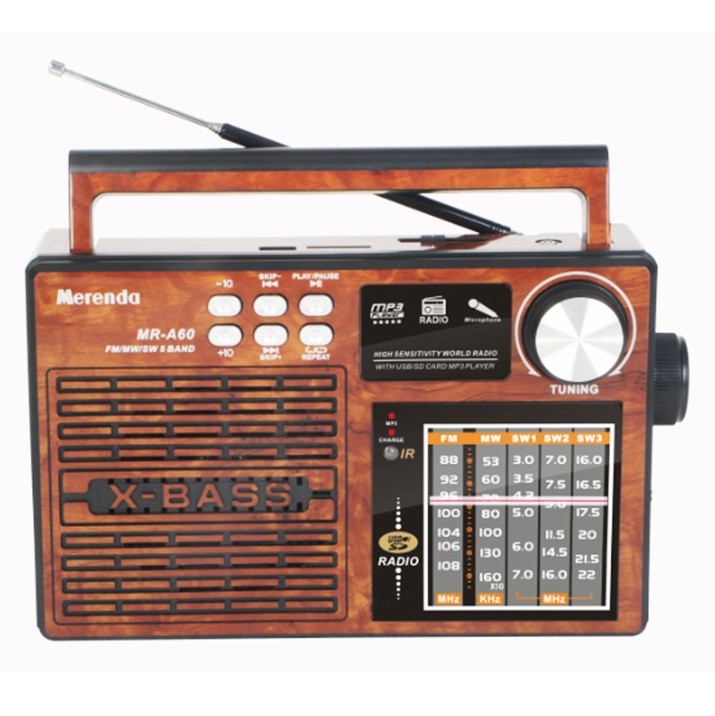 FM/Mw/SW 5 Band Radio dengan USB/SD Music Player & Fungsi Remote Control