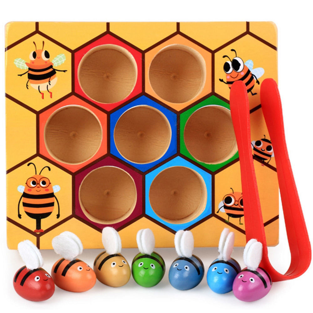Wooden lovely bee picking toy catching practices for baby early educational toddler game