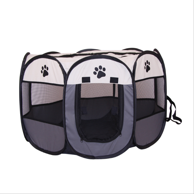 Pet tent octagonal pet fence Oxford cloth outdoor pet cat litter collapsible dog cage tent