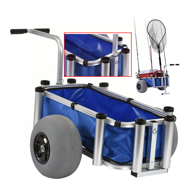 Aluminum Deck Folding Surf Fishing Beach trolley Cart with big wheels for sand