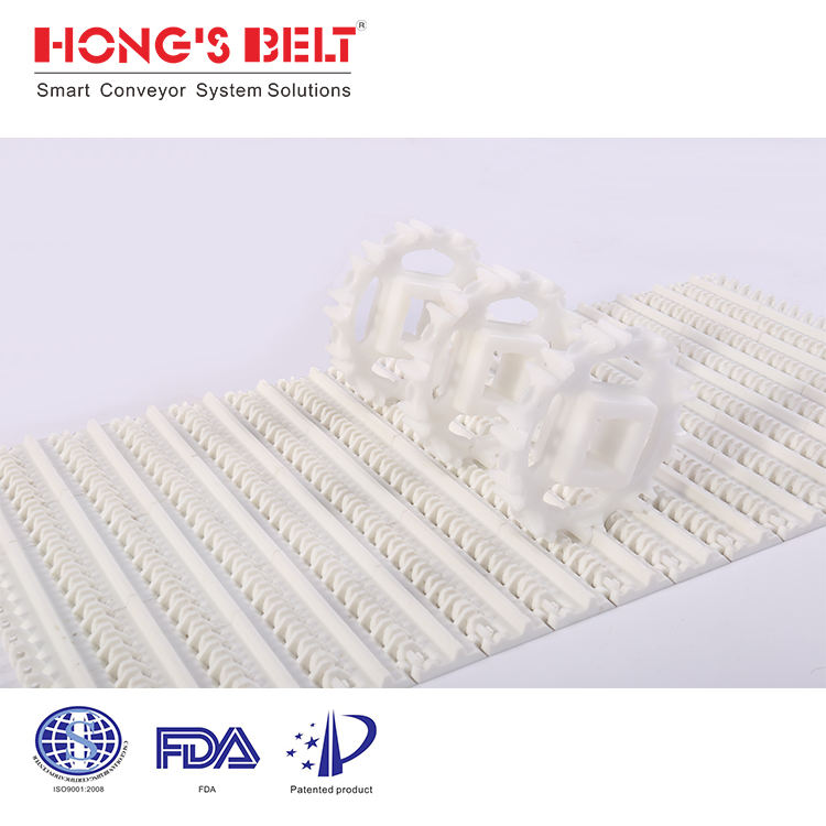 HS-100A-HD-N Open Hinge Type Flat Top Modular Belt For Meat Processing