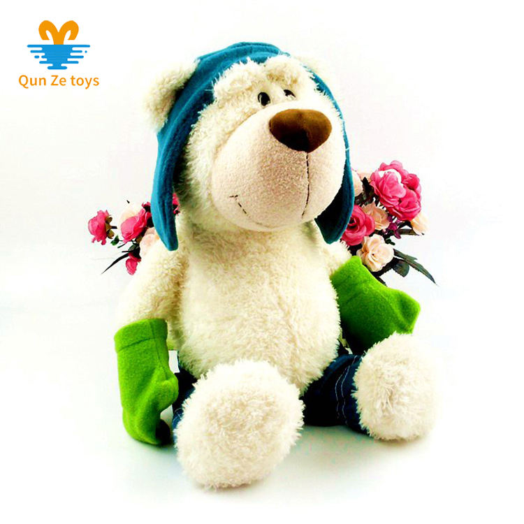 Factory directly sale cute white plush ski Teddy bear brown stuffed bear plush toy meets EN71
