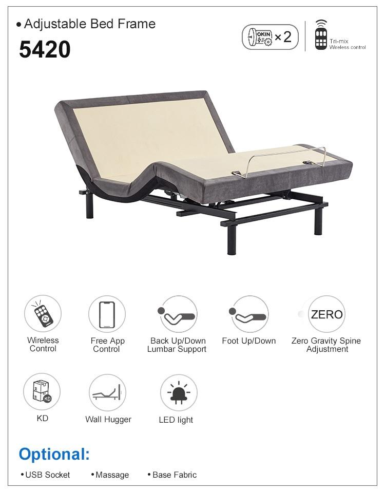 Modern wireless remote control MQ 5420 king size adult electric adjustable bed