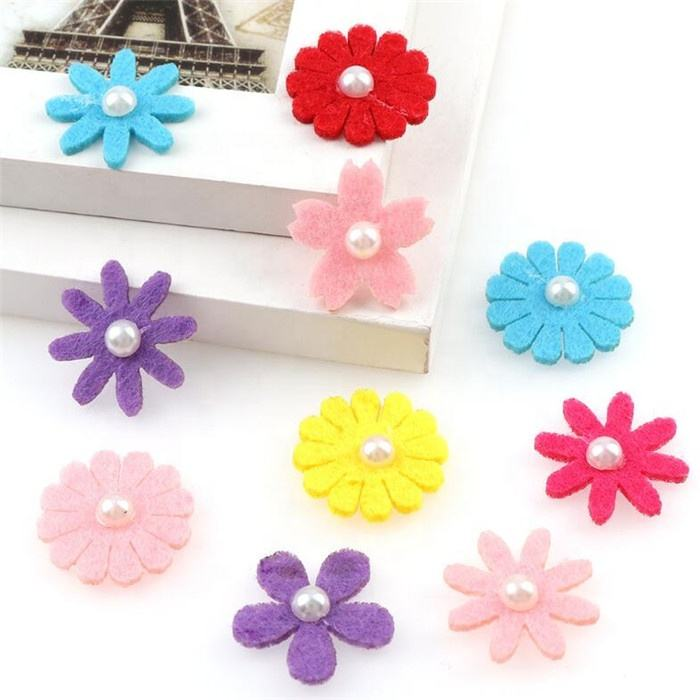 20 per pack non-woven flower pearl embroidery cloth stickers patch