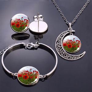 Flowers Bracelet/ Earrings/ Necklace Jewelry Set Poppy Flowers Glass Cabochon Stud Earrings Moon Necklace Bracelet for Women