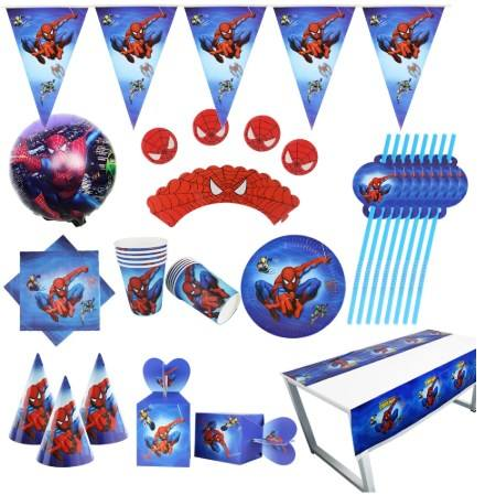 Superheld Party Supplies Set Spiderman Geburtstags teller Ballon Hut Geschenk beutel Spider Man Theme Party Dekoration Supplies