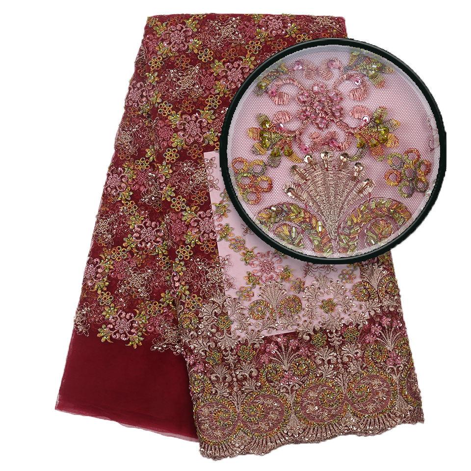 MAROON WINE Luxury 3D Appliqué Glitter Guipure Lace Dress Fabric Floral 1086