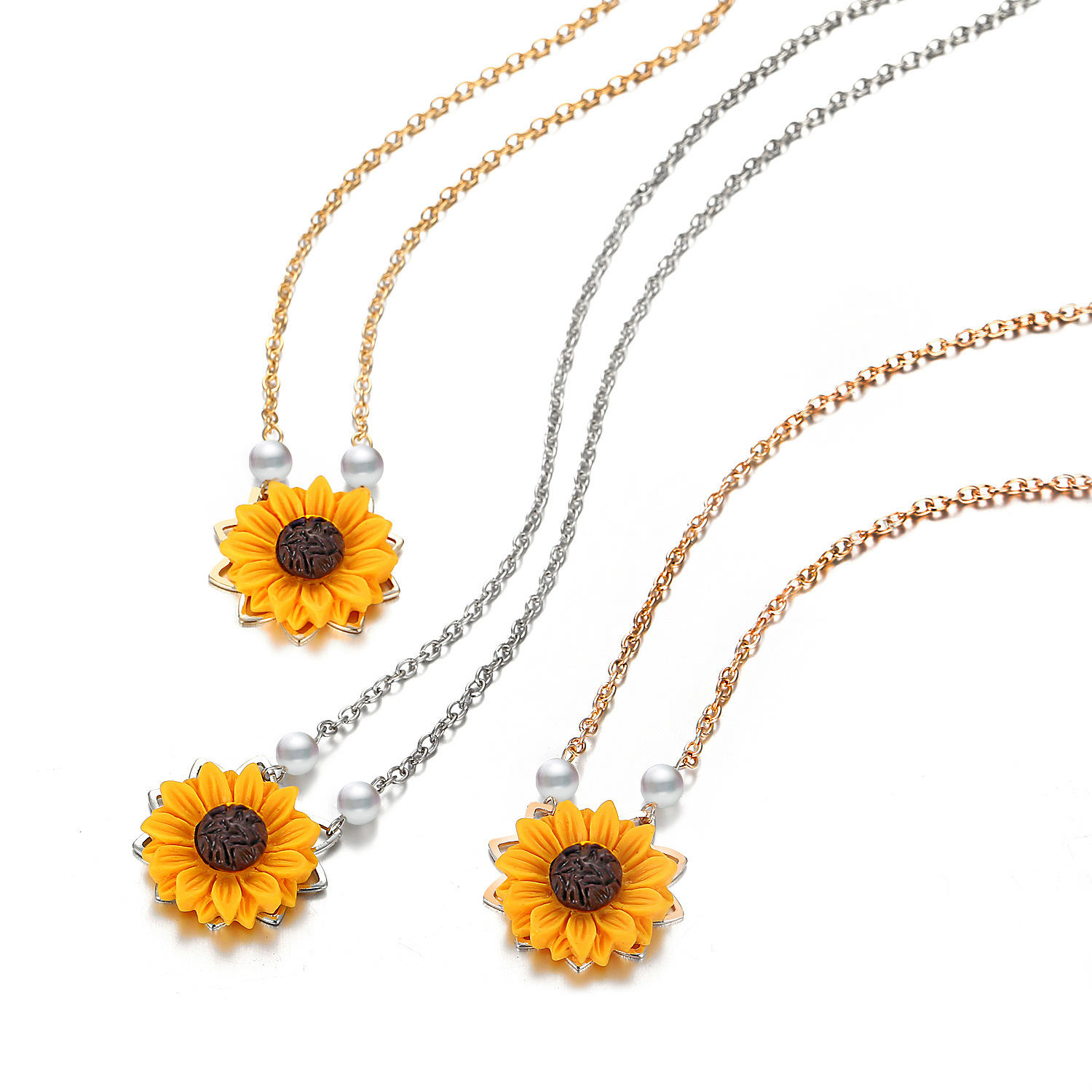 Customized Artificial Pearls Women Long Chain Sunflower Pendant Necklace
