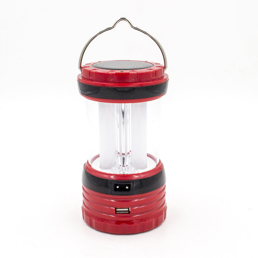 Portable handle rechargeable AC battery solar powered ten light camping lantern for emergency