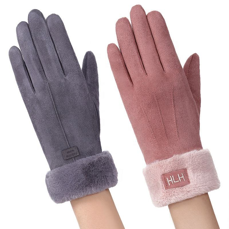 Wholesale Custom Outdoor Sport Driving Leather Warm Thicken Cold Proof Ladies Touch Screen Winter Hand Suede Gloves for Women
