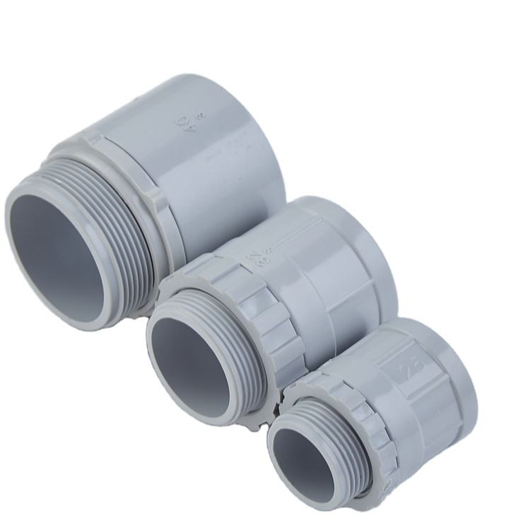 China Fonte Da Fábrica de PVC Conduítes Medium Duty Cinza 16mm 20mm 25mm 32 milímetros Conduit Adaptor