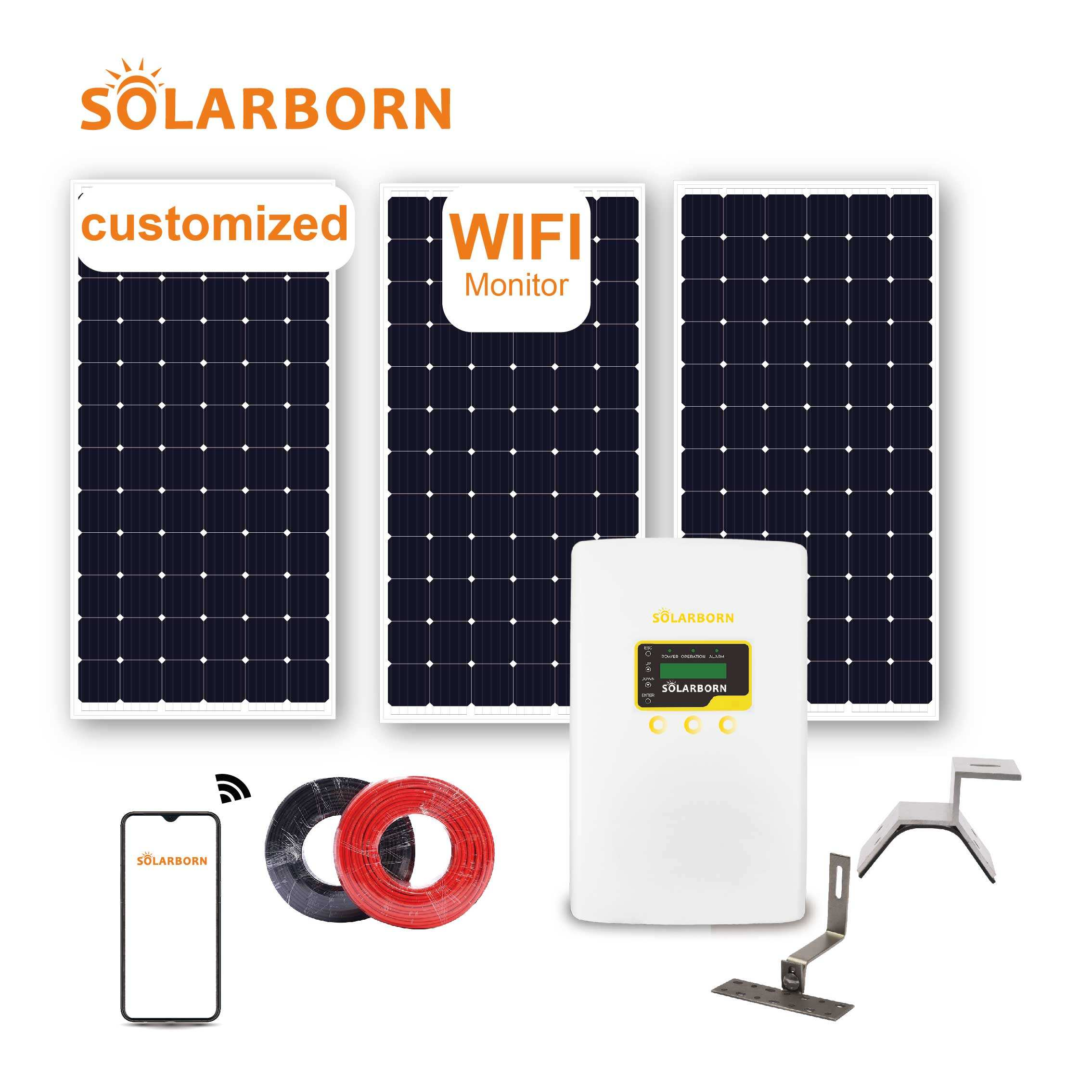 Solarborn complete hybrid 10kw 15kw 20kw 30kw 50kw 1mw panel inverter on off grid price power home solar energy system for home