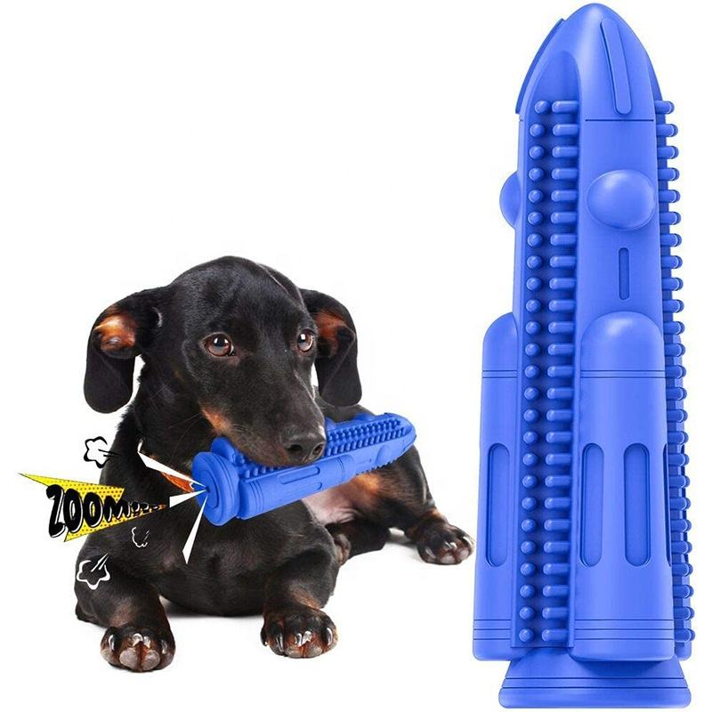 2020 Wholesale Nature Rubber Dog Teeth Cleaning Pet Dog Molar Toy Bite Rocket Dog Chew Toy