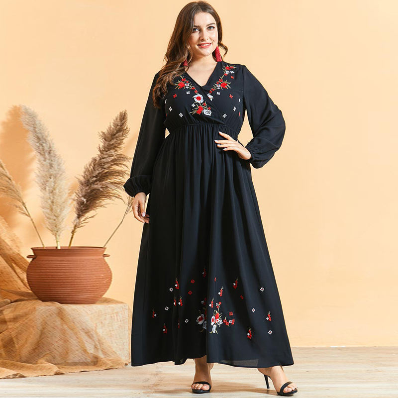 Sexy Criss Cross V-neck bohemian Long Dress Chic Floral Embroidered long sleeve Slim waist Maxi A Line Dresses Plus Sizes