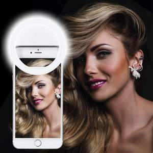 Rechargeable Portable Clip-on Selfie Phone Ring Fill Light with 28 LED for iPhone/Android Smart Phone Photography  Camera Video