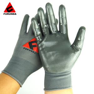 Made in china 13 gauge nylon knitted working gloves coated with nitrile paim