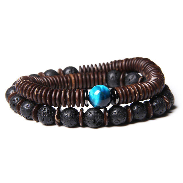New Design Men Bracelet Natural Stone Lava Rock Beaded Coconut Spacers Two Layer Beads Elastic bracelet Men