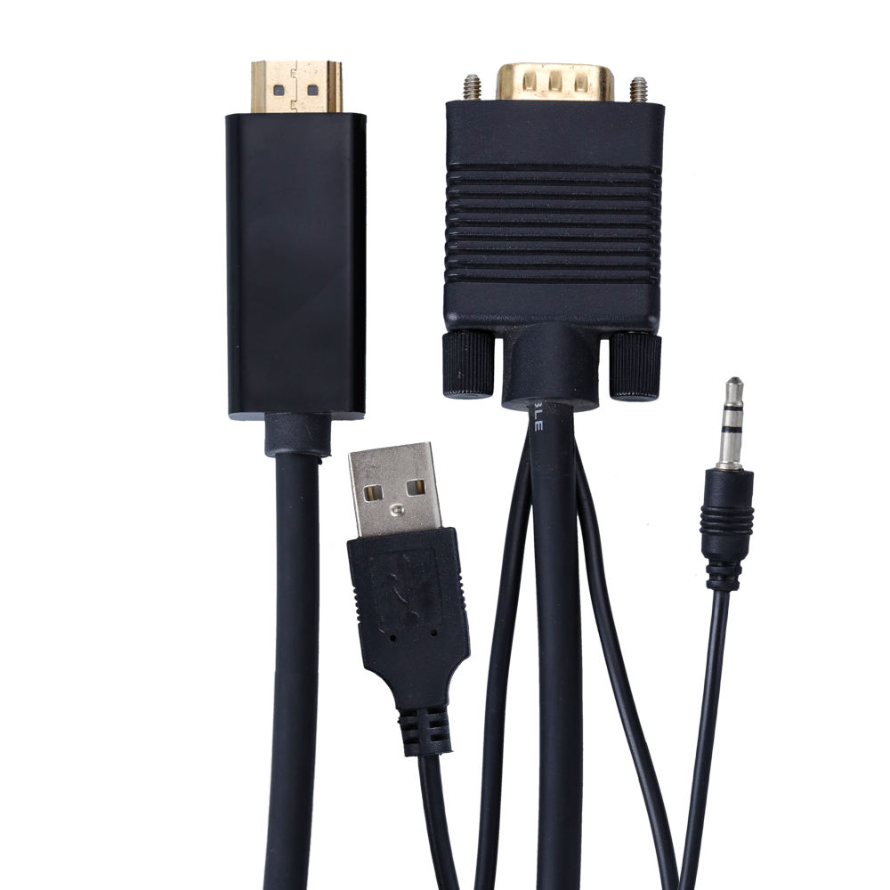 Ksin HD Male to male Converter VGA to HDMI with USB Cable Audio Cable For Computer PC DVD HDTV