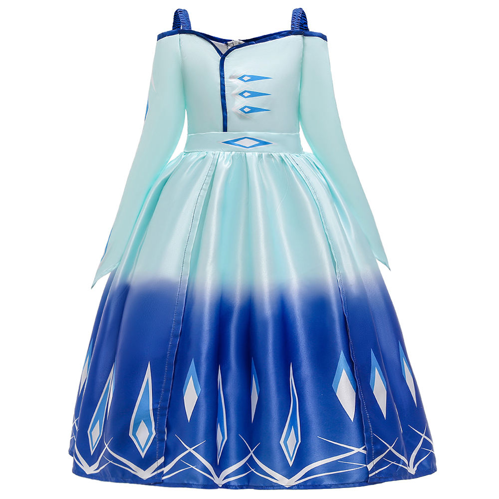 New Frozen2 Cosplay Party Performance Dress Children Clothes Off Shoulder Elsa Costume Dresses BX1661