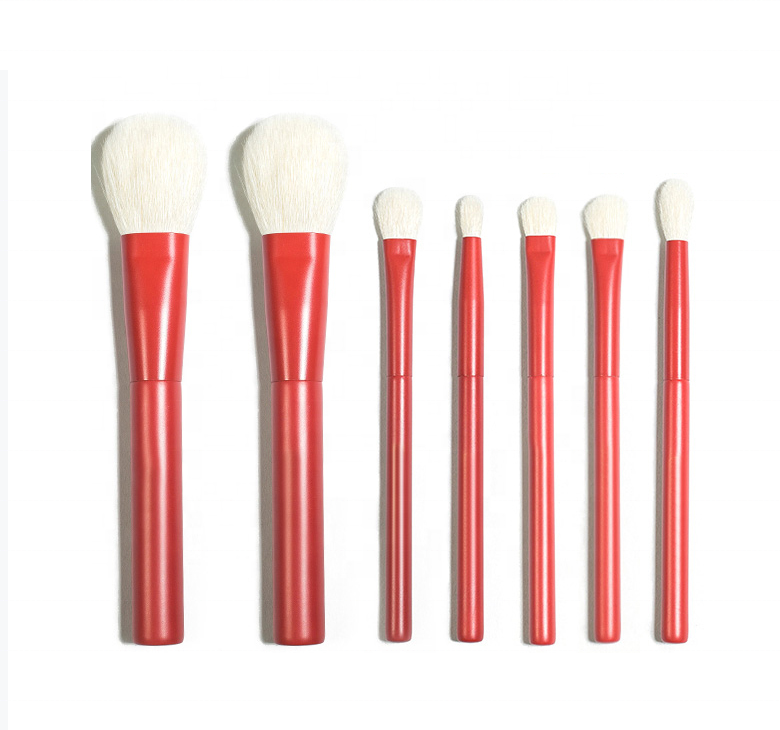New Arrival Wholesale 7 Pcs Goat Hair Private label Powder Foundation Eye Shadow Makeup Brush Set