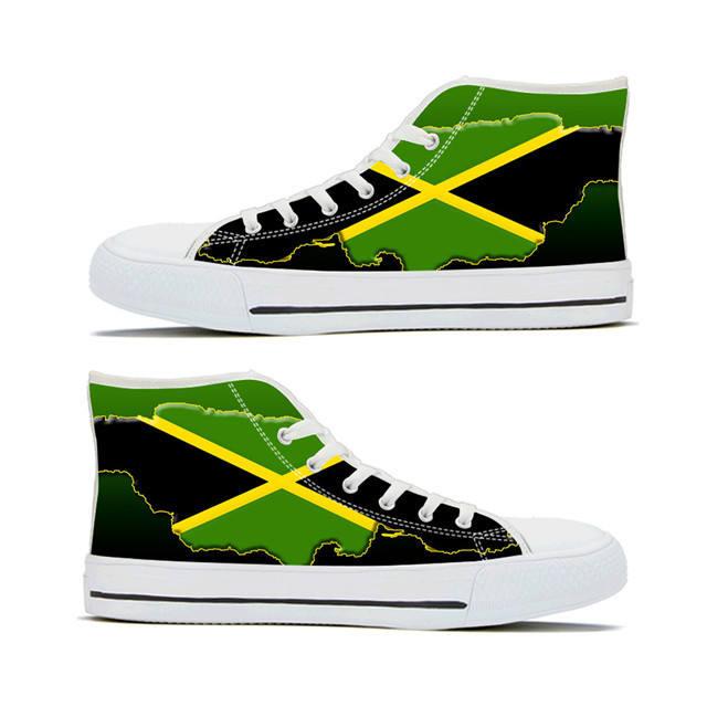 Canvas High Top Sneaker Casual Skate Shoe Mens Womens Jamaica Flag National Emblem