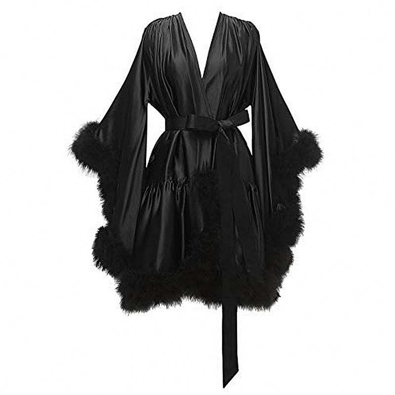 New Autumn Luxury Silk Sleepwear Women Sexy Satin Nightwear Feather Long Robe Gown Sets Pajama Ladies Halter Nightgowns