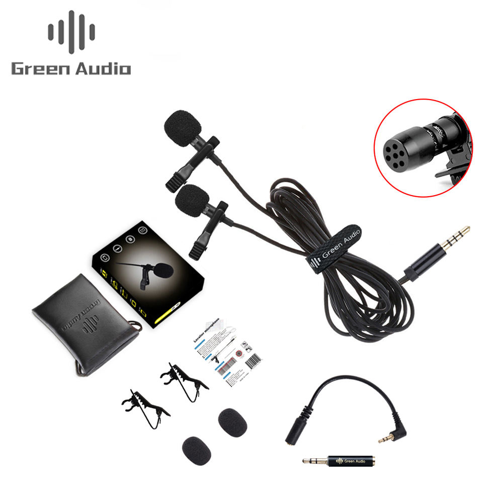 New Dual-head Clip Lavalier Collar Microphone for Speaking Tie Clip-on Lapel Microphone for in Lectures