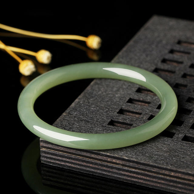 Natural Hetian Jade White and Green Thin Strip Bracelet Elegant Princess Jewelry 52-62MM