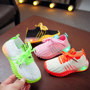 OEM&ODM Net red LED light children's Shoes Autumn new light Shoes light Shoes sports men's and Women's knitted Surface