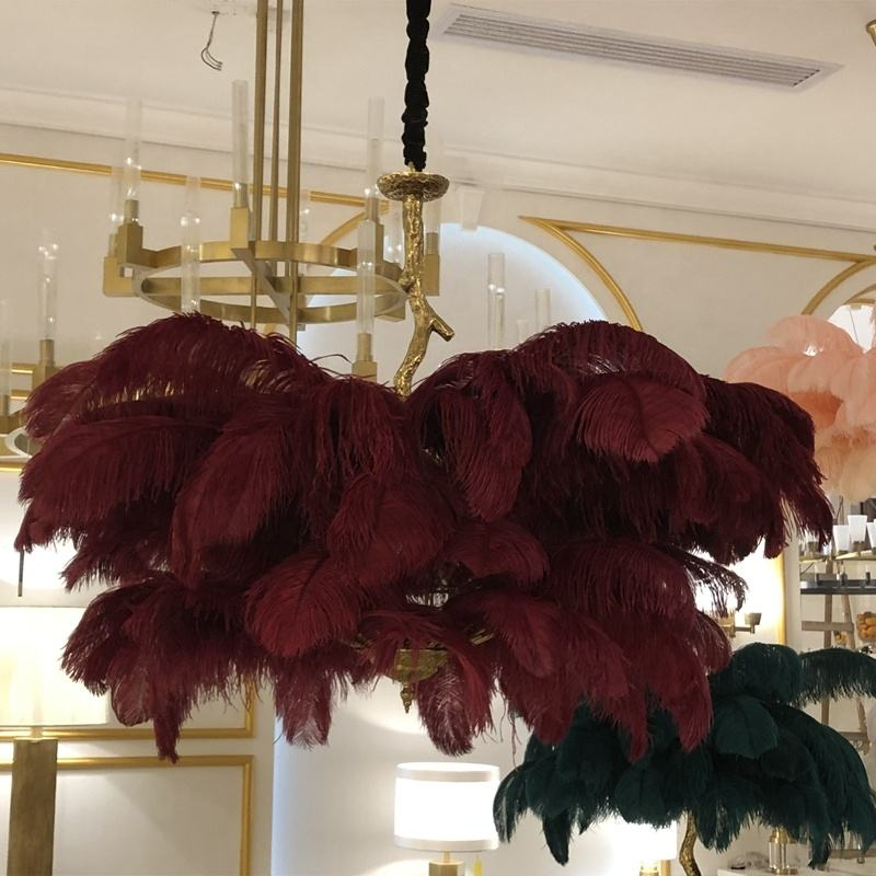 2020 contemporary pink red feather light chandelier brass ostrich feather chandelier lighting pendant lamp