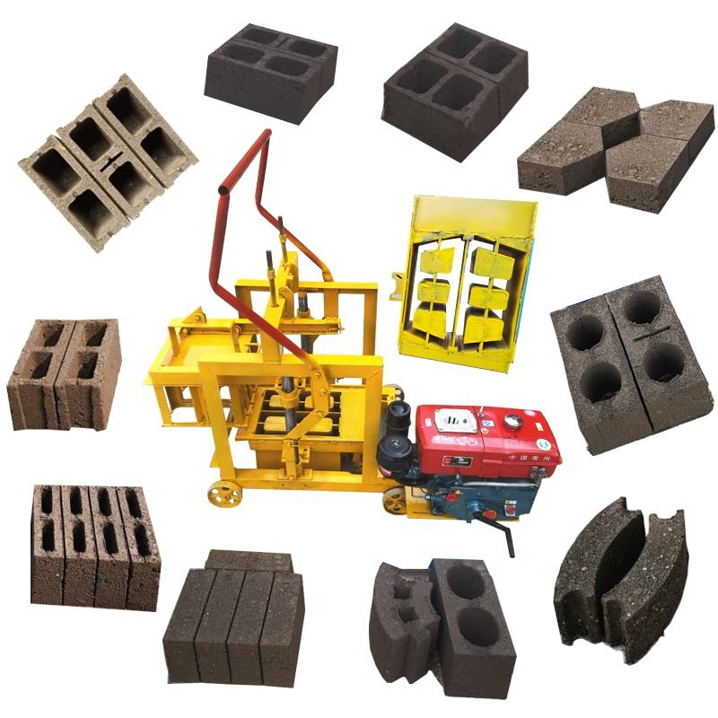 small mobile portable Manual Hollow Cement fly ash Block bricks Making machinery Brick block Maker making Machine lowest Price